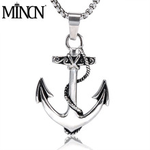 MINCN mens necklace titanium steel casting anchor hook personality Domineering pendant jewelry stainless