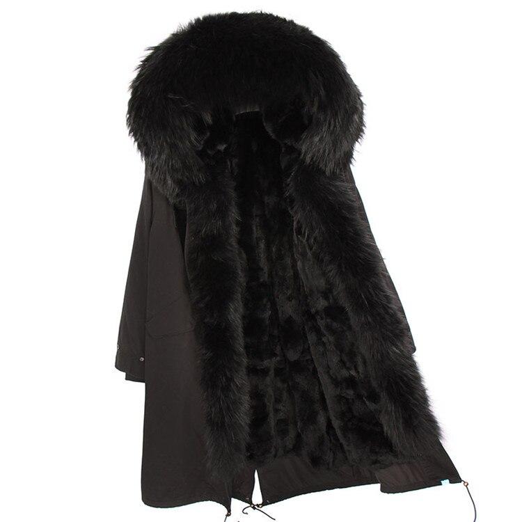 Moda mujer real conejo piel forro invierno chaqueta abrigo escorpión piel cuello desmontable con capucha larga ropa de diseñador DHL 5 7 - 4