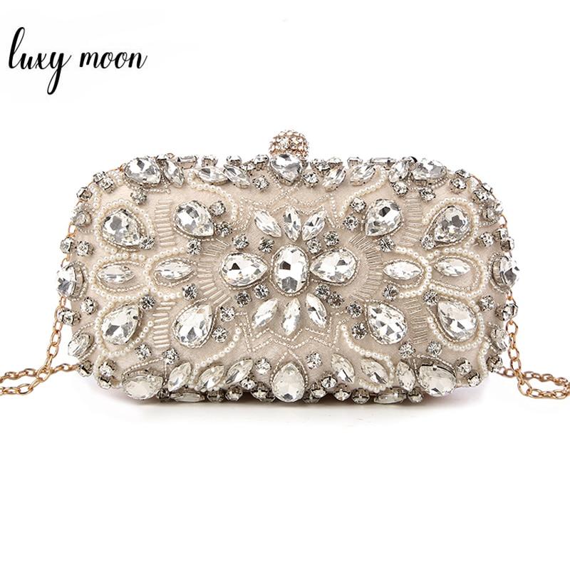 Wedding Clutch Womens Clutch Bag Party Purse and Handbag Pearl  Clutch Luxury Handbags Women Bags Designer Apricot Wallet  bolsaTop-Handle Bags