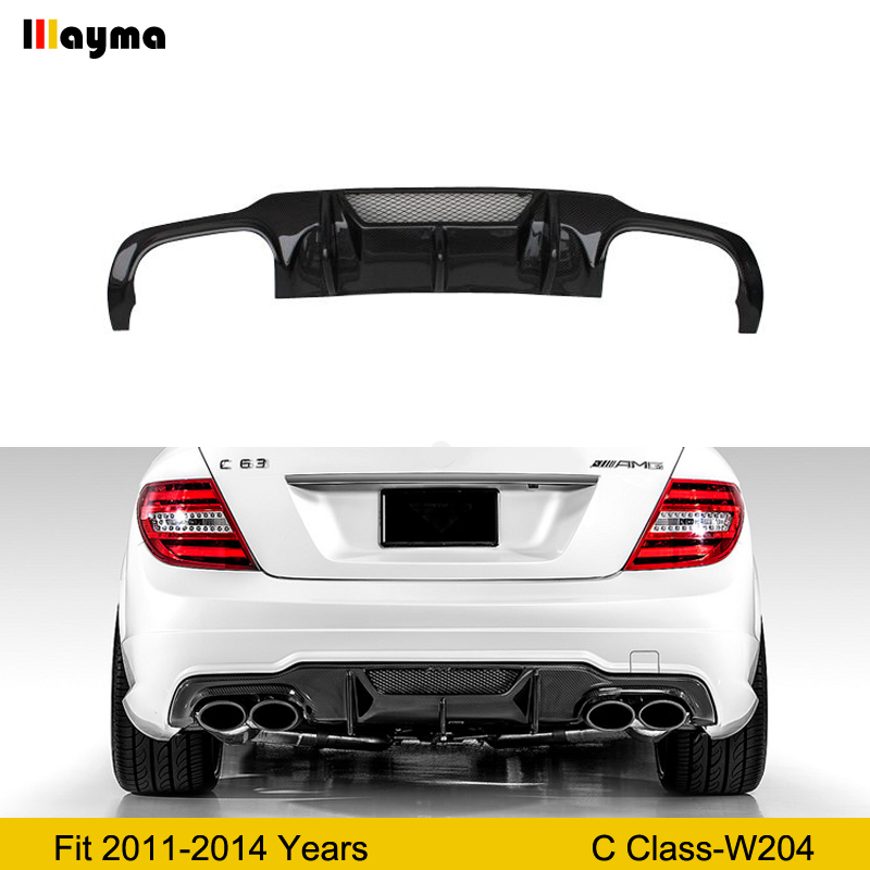 V style Carbon Fiber Rear Bumper Lip Diffuser for <font><b>Mercedes</b></font> <font><b>Benz</b></font> <font><b>C</b></font> <font><b>Class</b></font> C250 C63 AMG 2011-2014 Year <font><b>W204</b></font> car rear <font><b>spoiler</b></font> image