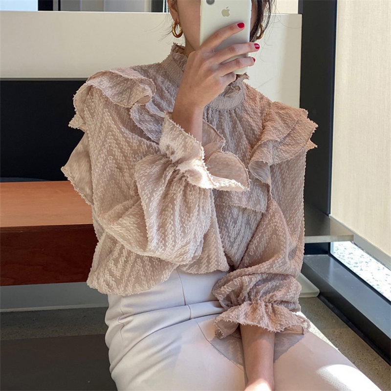 Alien Kitty Loose Florals Leisure Flare Sleeves Ruffles All Match Office Lady Blouses Chic 2020 Gentle Streetwear Casual Shirts