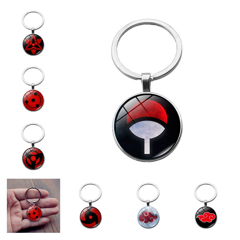 Naruto Uchiha Itachi Cosplay Accessories Keychain Sasuke Akatsuki Pain Sharingan Rinnegan Metal Pendant Key Ring Key Chain New