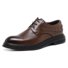 Erkek elbise ayakkabı el yapımı İngiliz tarzı parti deri düğün ayakkabı sonbahar erkekler Flats deri Oxfords resmi ayakkabı