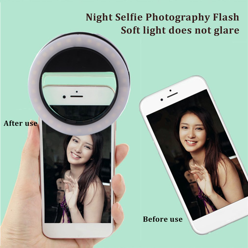 Phone Clip Selfie LED Auto Flash For Cell Phone Smartphone Round Portable Selfie Flashlight Mini Camera Flashlight