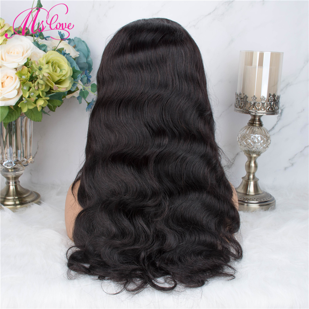 Hcfe9d99431be4d1993f8699c7ecc1643t Ms Love 4X4 Lace Closure Human Hair Wigs Body Wave Brazilian Human Hair Wigs For Black Women Natural Color Non Remy Wig