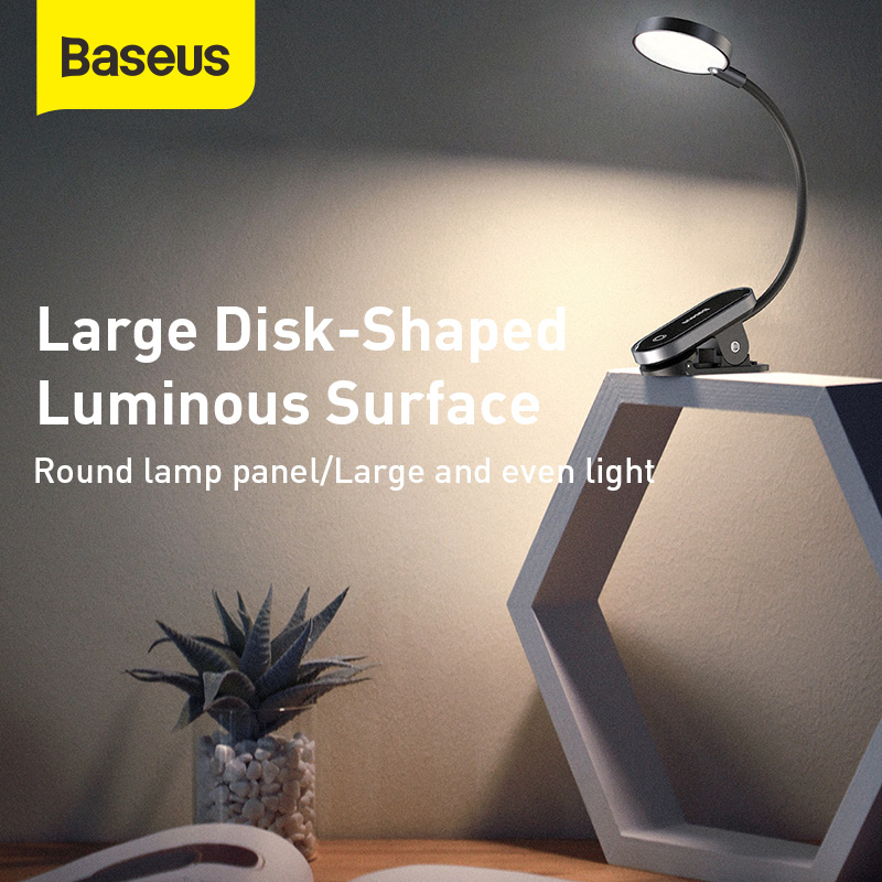 Baseus USB Led Light Rechargeable Mini Clip-On Desk Lamp Light Flexible Nightlight Warm Reading Lamp For Travel Bedroom Book