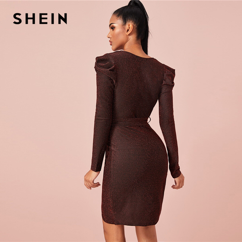 SHEIN Burgundy Belted Wrap Glitter Bodycon Party Dress Women Autumn Solid V Neck Long Sleeve Fitted Short Glamorous Dresses 2