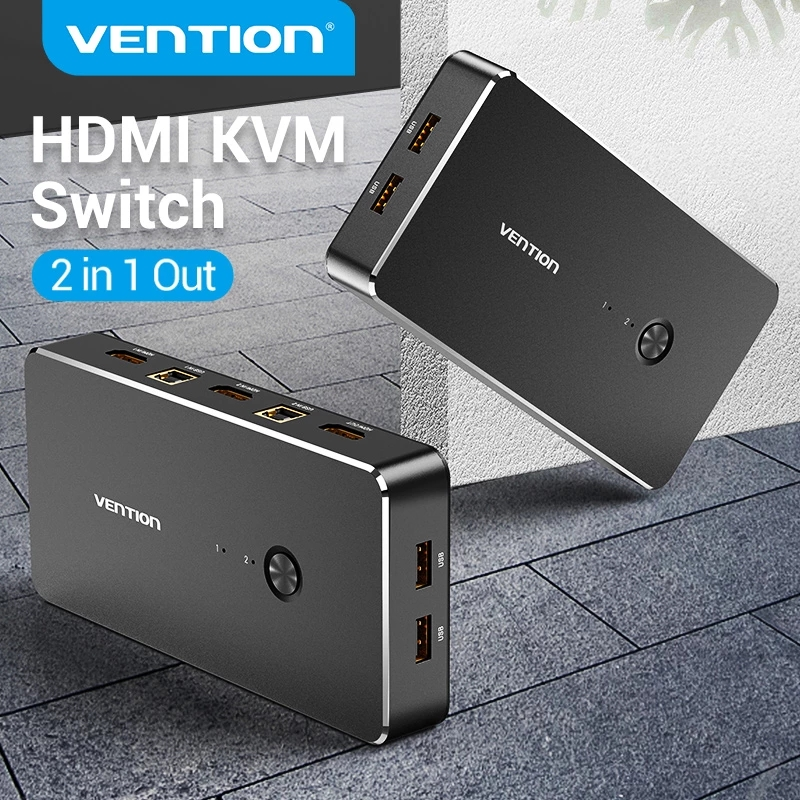 Vention HDMI KVM коммутатор 4K/30Hz USB 2,0 коммутатор VGA KVM переключатель для совместного использования принтер клавиатура мышь HDMI 1,4 VGA KVM Spliiter
