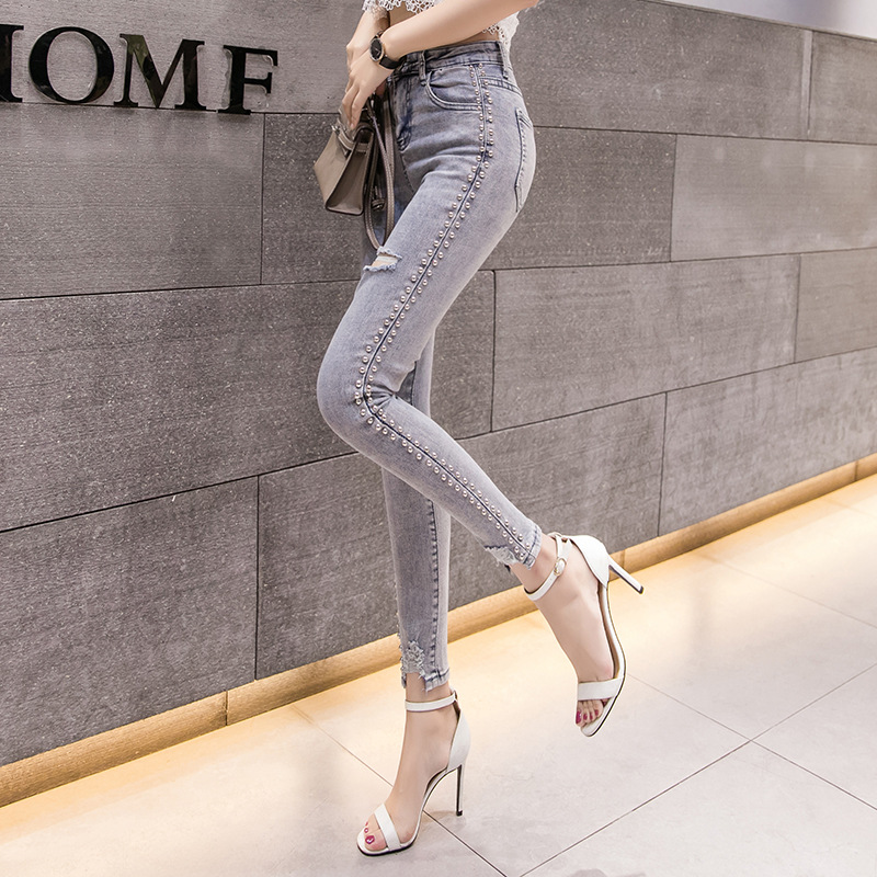 Online Celebrity Jeans Women's 2019 Spring Clothing New Style CHIC Rivet Capri Pants Slim Fit Slimming With Holes Skinny Pants