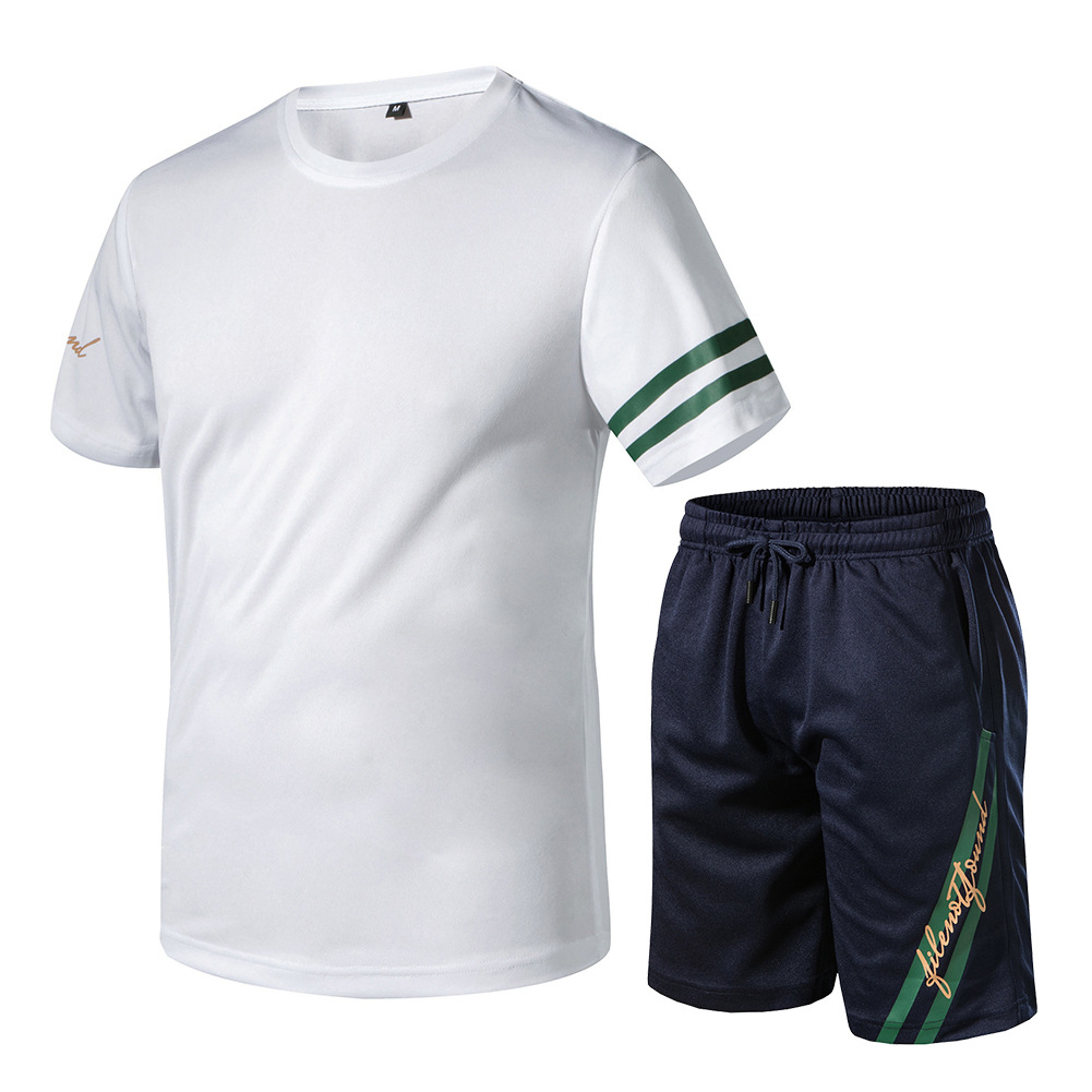 Summer New Style Men's Ouma Set Quick-Drying Fabric Two-Piece Set Sports Running Set Men