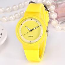 Fashion Children Quartz Watch Yellow Silicone Strap Bracelet Simple Scale Dial K