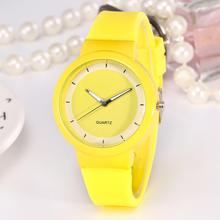 Fashion Children Quartz Watch Yellow Silicone Strap Bracelet Simple Scale Dial