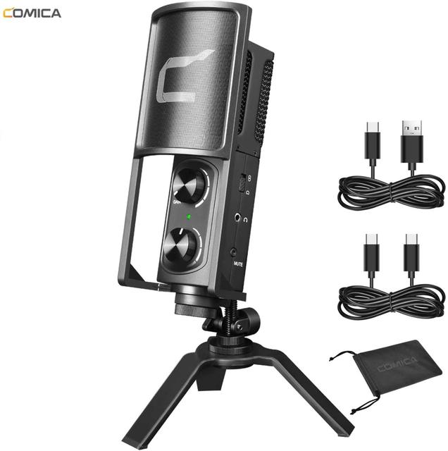Comica STM USB usbタイプc用のスマートフォン/コンピュータ、スタジオ録音用マイクライブストリーム、podcaster