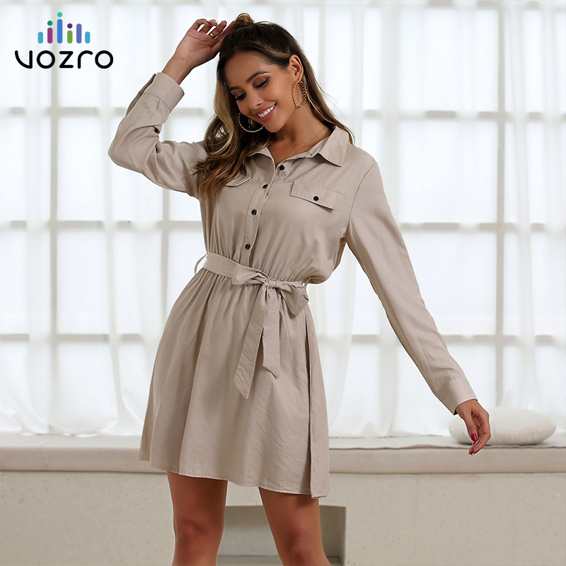 VOZRO Suit-dress Work Clothes Wind High Waist Chalaza Long Sleeve Sexy Winter Party Dress Women Vestido Dresses Befree Vintage