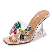 Summer Slippers Ladies Heels PVC Transparent Diamond Clear Femme Slides Peep Toe Cup Heel 9cm Sandals Women Shoes Pumps Size 46