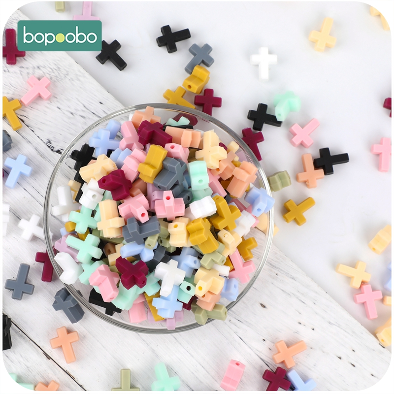 Bopoobo Silicone Cartoon Cross Baby Teether  20pc Silicone Bead  BPA Free  Baby Teething Beads Silicone Baby Food Grade Teether