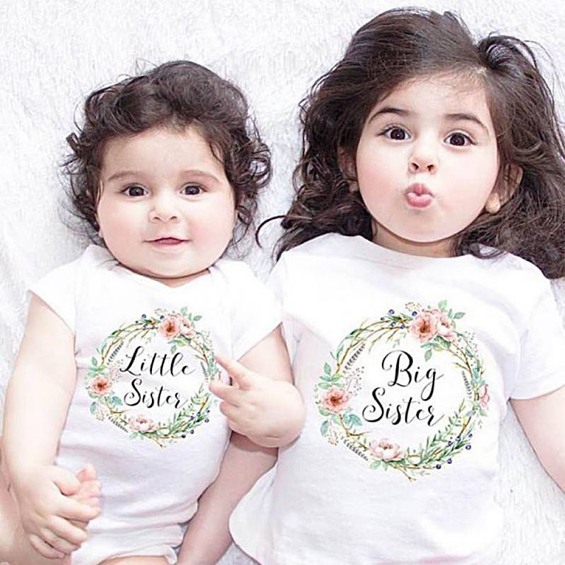 Kids T Shirt Jumpsuit Outfits 0-7Y Children Clothes Summer Baby Girl Romper Little Big Sister Family Matching Clothes