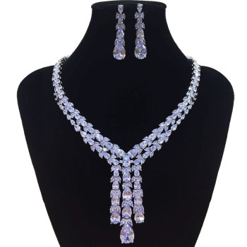 GODKI Trendy Luxury 2PCS Tassels Drop Statement Jewelry Set For Women Wedding Full Cubic Zircon Dubai Bridal jewelry Set 2019