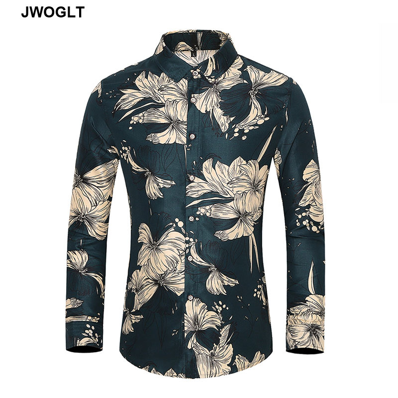 45KG-120KG Autumn New Men Flowers Shirt Casual Button Down Long Sleeve Floral Printed Men's Hawaiian Aloha Shirt 5XL 6XL 7XL