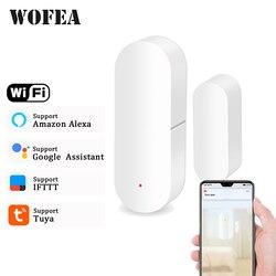 Wofea porta/janela detector aplicativo wi fi notificação alertas bateria operado tuya apoio alexa google sensor de segurança em casa
