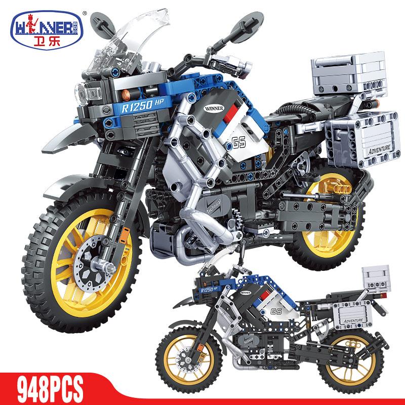 ERBO Technical Motorcycle car Model Building Blocks Speed Racing car City Vehicle MOC Motorbike Bricks Kits Toys For Children