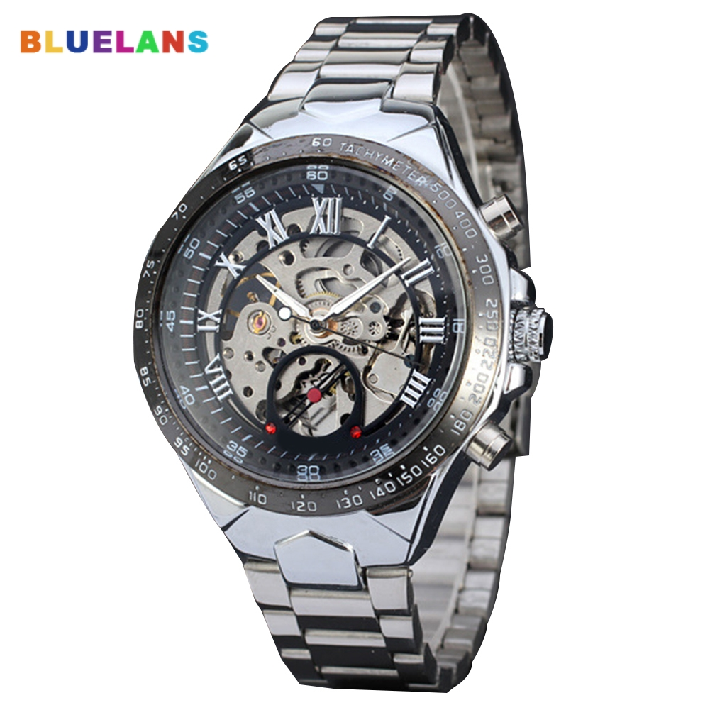 Fashion Men's Watch Luxury Steampunk Hollow Stainless Steel Automatic Mechanical Wrist Watch