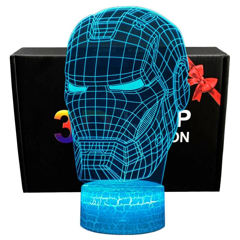 Marvel Avengers Figurine 3D Illusion LED Night Light Colourful Lights Avengers Endgame Spiderman Figure IronMan Mask Model Toys