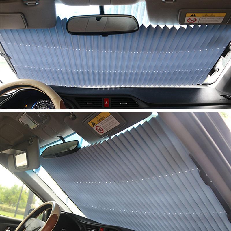 Universal Car Retractable Foldable Sun Shield Windshield Sunshade Cover Shield Curtain Auto Sun Shade Block Car Window Shade 6