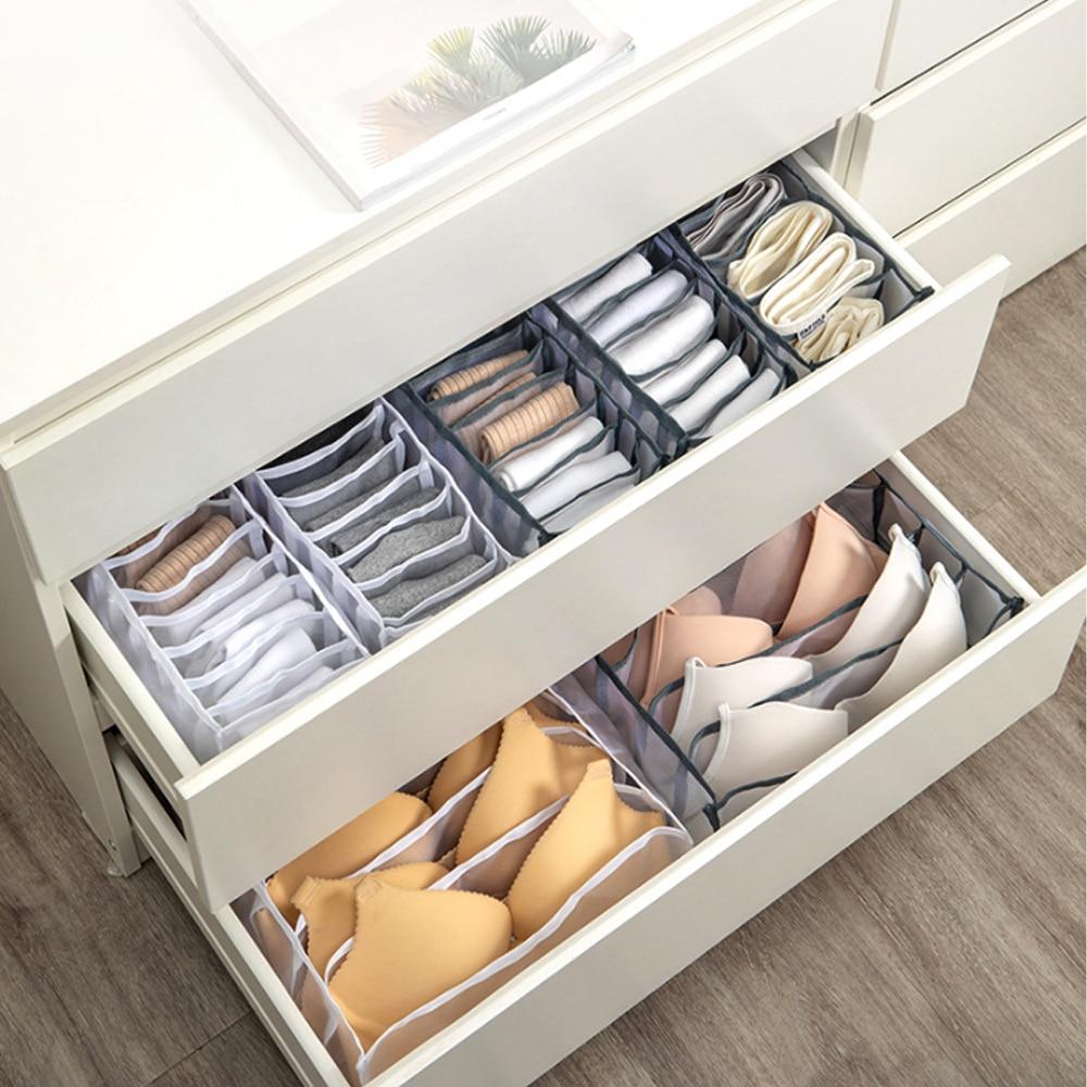 Bras Scarves SONGMICS Drawer Organizers Set of 6 Underwear Beige URDZ06M Ties Foldable Fabric Storage Boxes for Socks Dresser Dividers