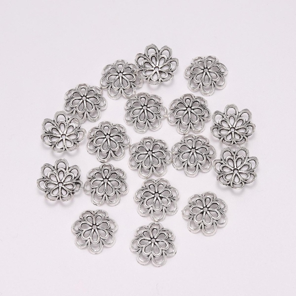 20pcs/lot 14mm Antique Silver Hollow Flower Spacer Beads End Caps For Beads Jewelry Making Findings Diy Bracelet Accessories