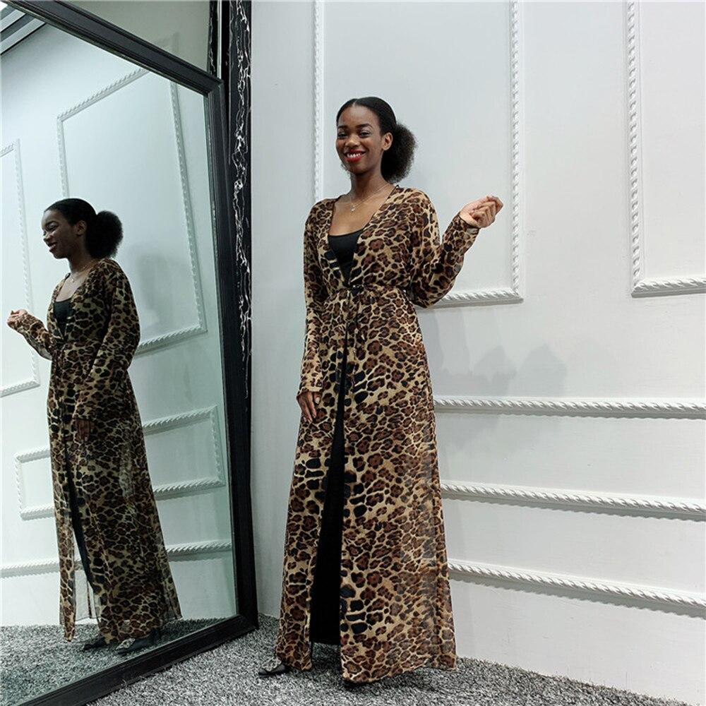 Leopard Hijab Muslim Dress Women Abaya Kimono Cardigan Saudi African Kaftan Dubai Caftan Pakistan Qatar Turkish Islamic Clothing