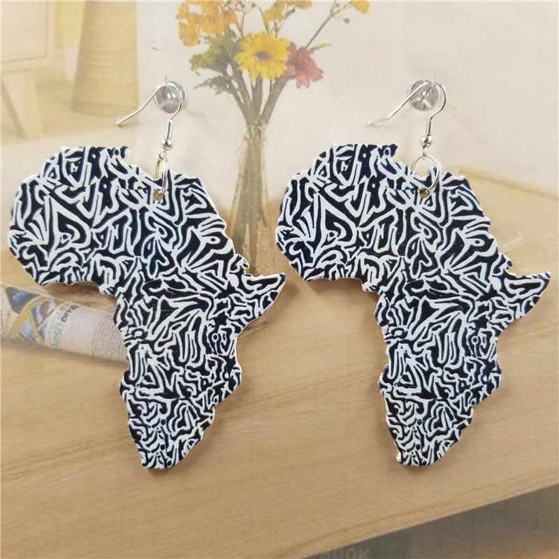 VINTAGE แผนที่ไม้ผู้หญิงจี้ Drop ต่างหู Statement แอฟริกันชาติพันธุ์แฟชั่นขายส่งเครื่องประดับสำหรับผู้หญิงหญิง
