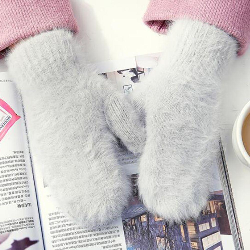 1 Pair New Girls Rabbit Wool Cute Wool Gloves Winter Mittens Fur Gloves Fingerless