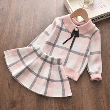 Menoea Children Winter Suits 2020 England Style Sweater Girl Plaid Wool Clothes Shirt Skirts 2Pcs Baby Autumn Clothes Sets