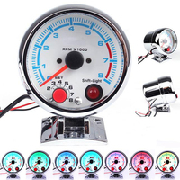 Car 0 11000 RPM Stepper Motor Tachometer Gauge Shift Light Auto Car tacometro RPM Gauge Meter moto 7 colors 3.75 Inch 95mm|Tachometers|   -