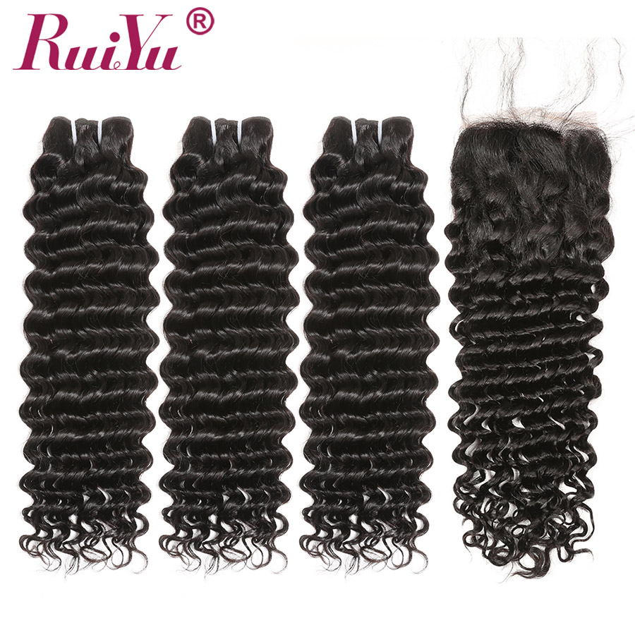 Brazilian Deep Wave Bundles With Closure 100% Human Hair 3 Bundles With Lace Closure Remy Hair Weave Double Weft RUIYU Hair-in 3/4 Bundles with Closure from Hair Extensions & Wigs