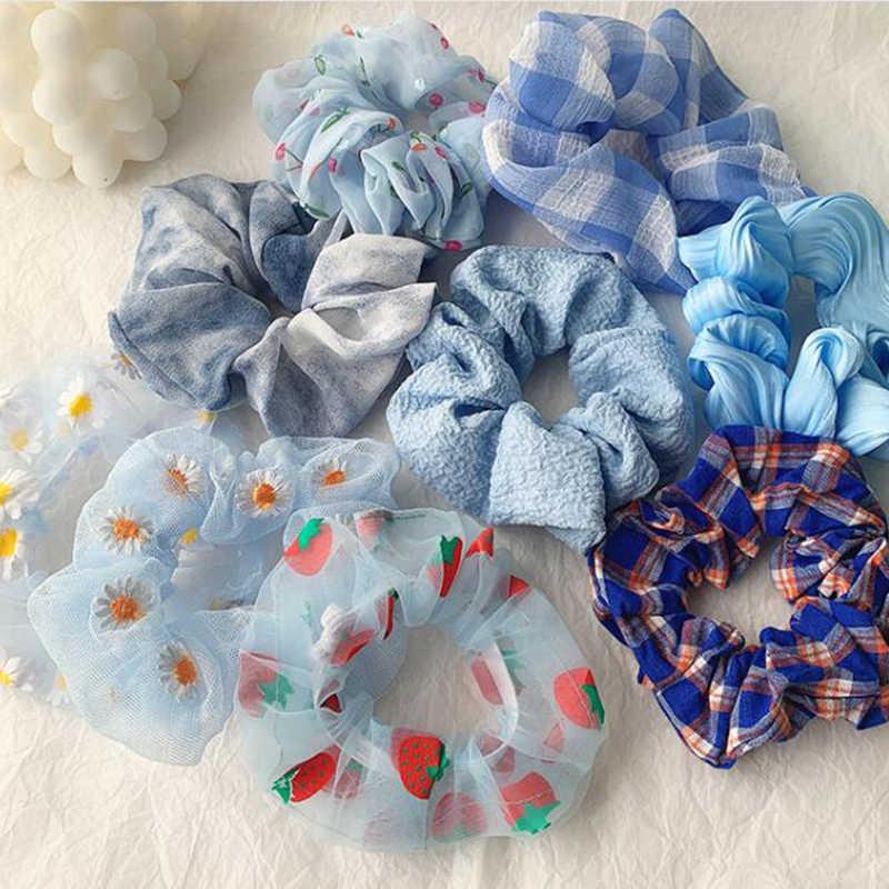 Girls Printed Daisy Fabric Scrunchie Hair Accessories Bobble Elastic Womens