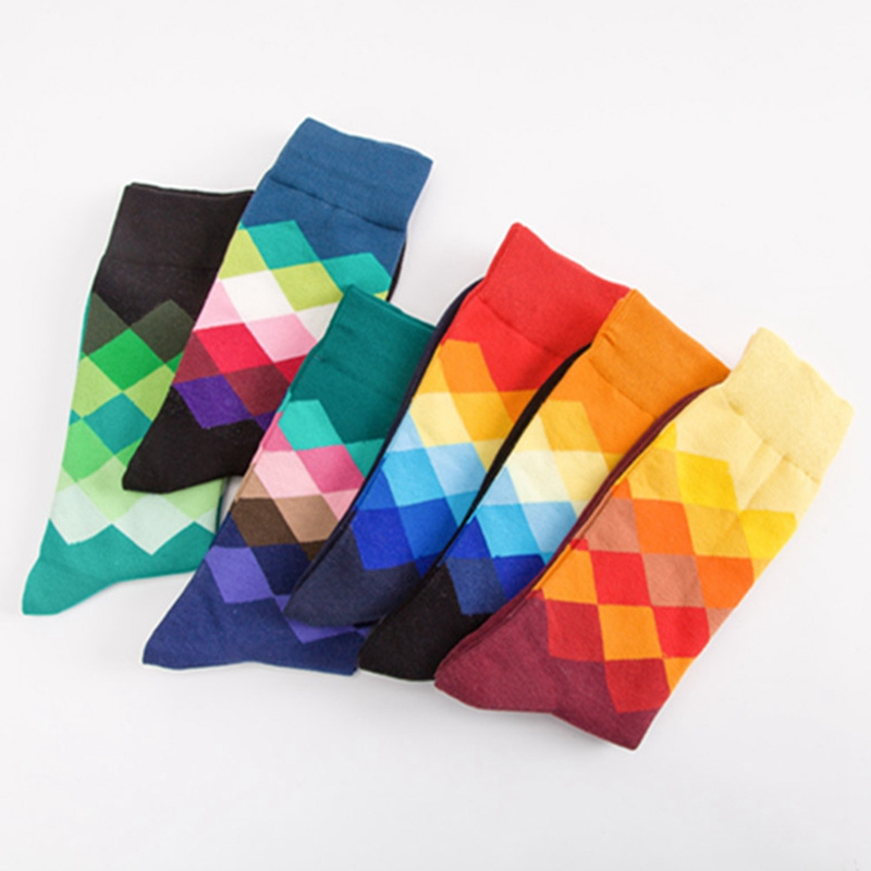Men Socks Standard Cotton Casual  High Quality Diamond Pattern Men's Socks, Colorful Clothes Socks Men