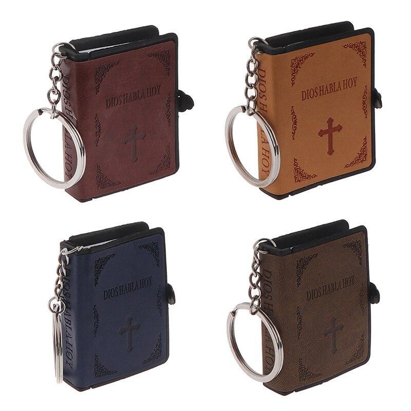 Mini Heilige Bibel Schlüssel Kette Buch Keychain Religion Spanisch Version Christian Jesus Key Ring Schlüsselring Geschenk Gebet Gott Segnen