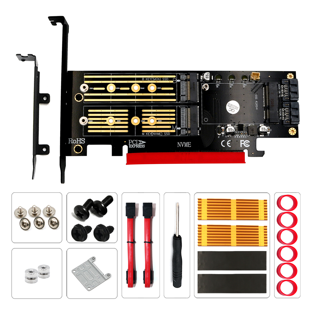 H1111Z Add On Card M.2 NVME NGFF mSATA Riser PCIE to M2 Adapter with Gold M.2 Heatsink SSD Cooling PCI Express X4/X8/X16 Raiser