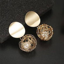 New Fashion Ball Stud Earrings For Women Golden Color Round Ball Geometric Earrings For Party Wedding Gift Wholesale Ear Jewelry(China)