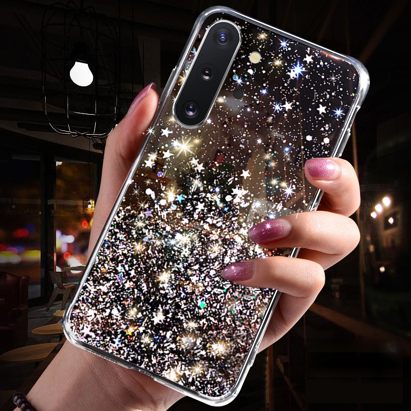 Bling Glitter Silicone Case for <font><b>Samsung</b></font> <font><b>Galaxy</b></font> S8 S9 S10 Note <font><b>8</b></font> 9 10 J4 Plus A6 A7 A9 <font><b>2018</b></font> A50 A10 A20 A20S A30 A40 A60 A70 Case image