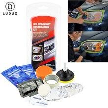 Kit de pulido de luz de coche, pulidor de faros, restaurador químico, abrillantador para faros, arandela, cera para Auto