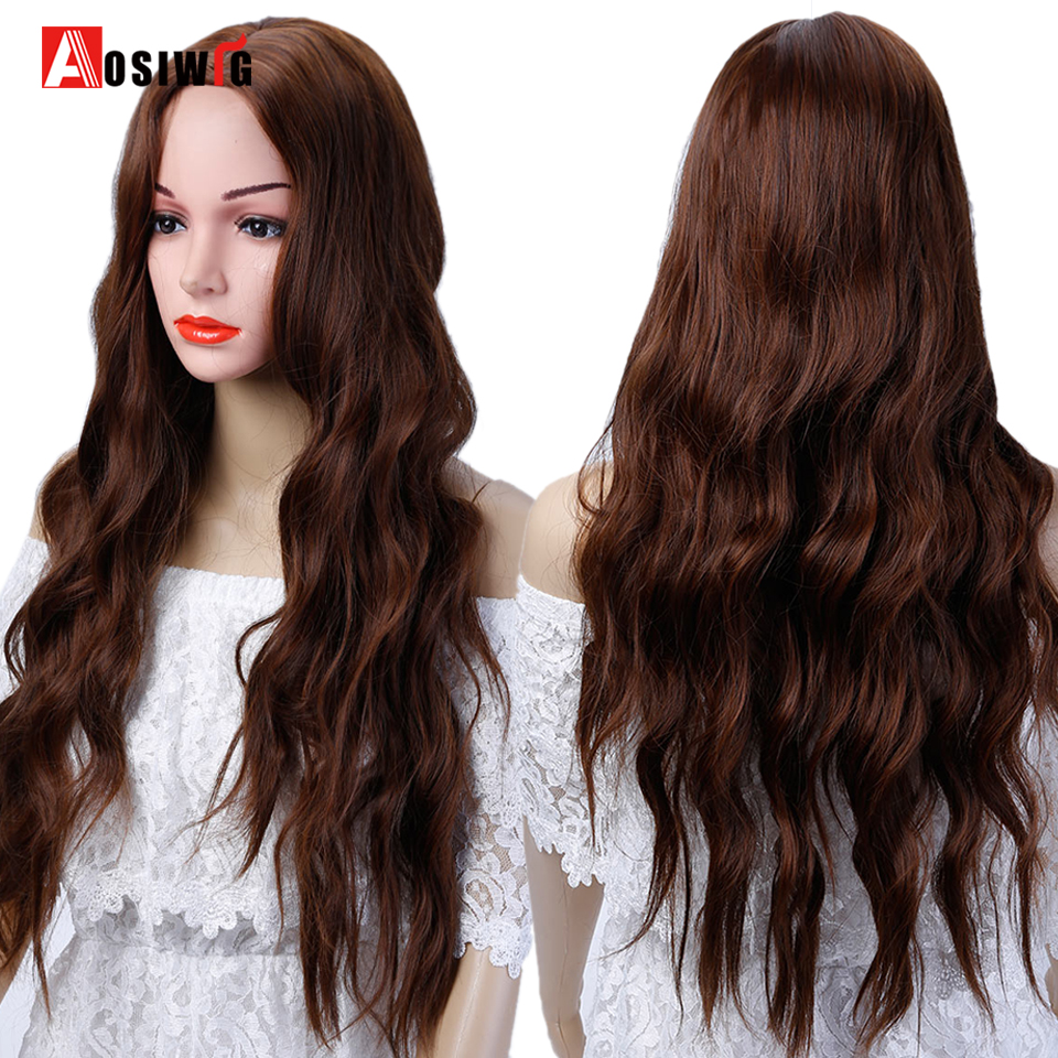 Natural Synthetic Hair Long Wavy Curly Wigs Black Brown Blue Heat Resistant Costume Cosplay Wigs For Women AOSIWIG