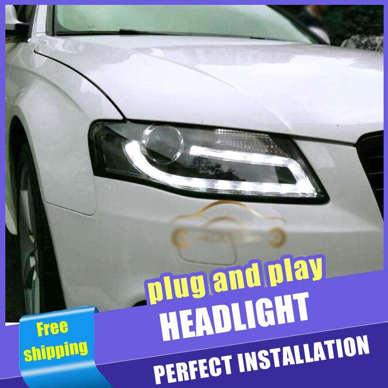 2 pièces voiture Style LED phares pour Audi A4 B8 2008-2012 pour A4L B8 lampe frontale LED DRL lentille Double faisceau H7 HID xénon bi xénon lentille