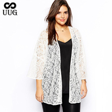 6XL 5XL Plus Size Women Lace Cardigan 2015 Fat Big Large Black Coat Full Figre White Lady Clothing 3XL