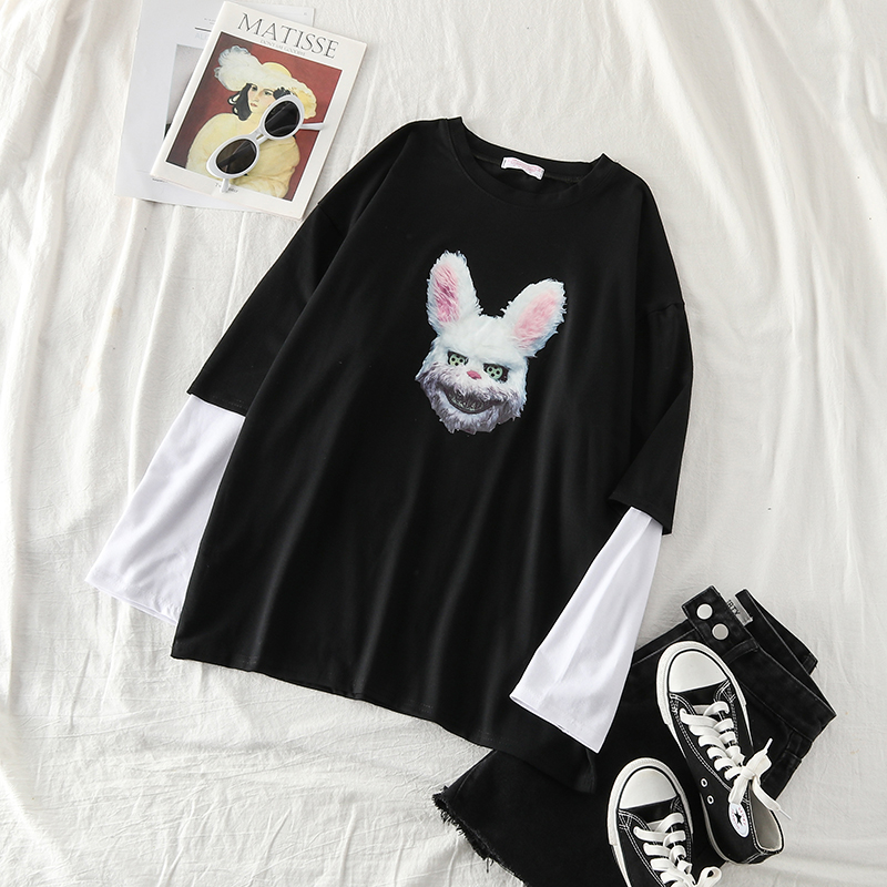 Mooirue Autumn Funny Rubbit Printed T Shirts Patchwork Long Sleeve Harajuku Streetwear Loose Casual Tops Black Vintage