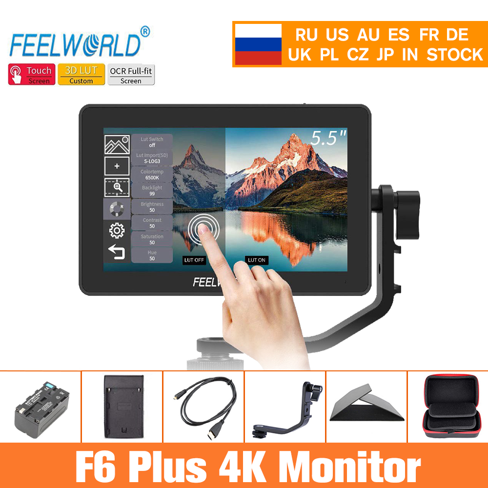 Feelworld câmera monitor f6 plus 5.5 Polegada 3d lut tela sensível ao toque 4 k hdmi ips fhd 1920x1080 monitor para câmera dslr