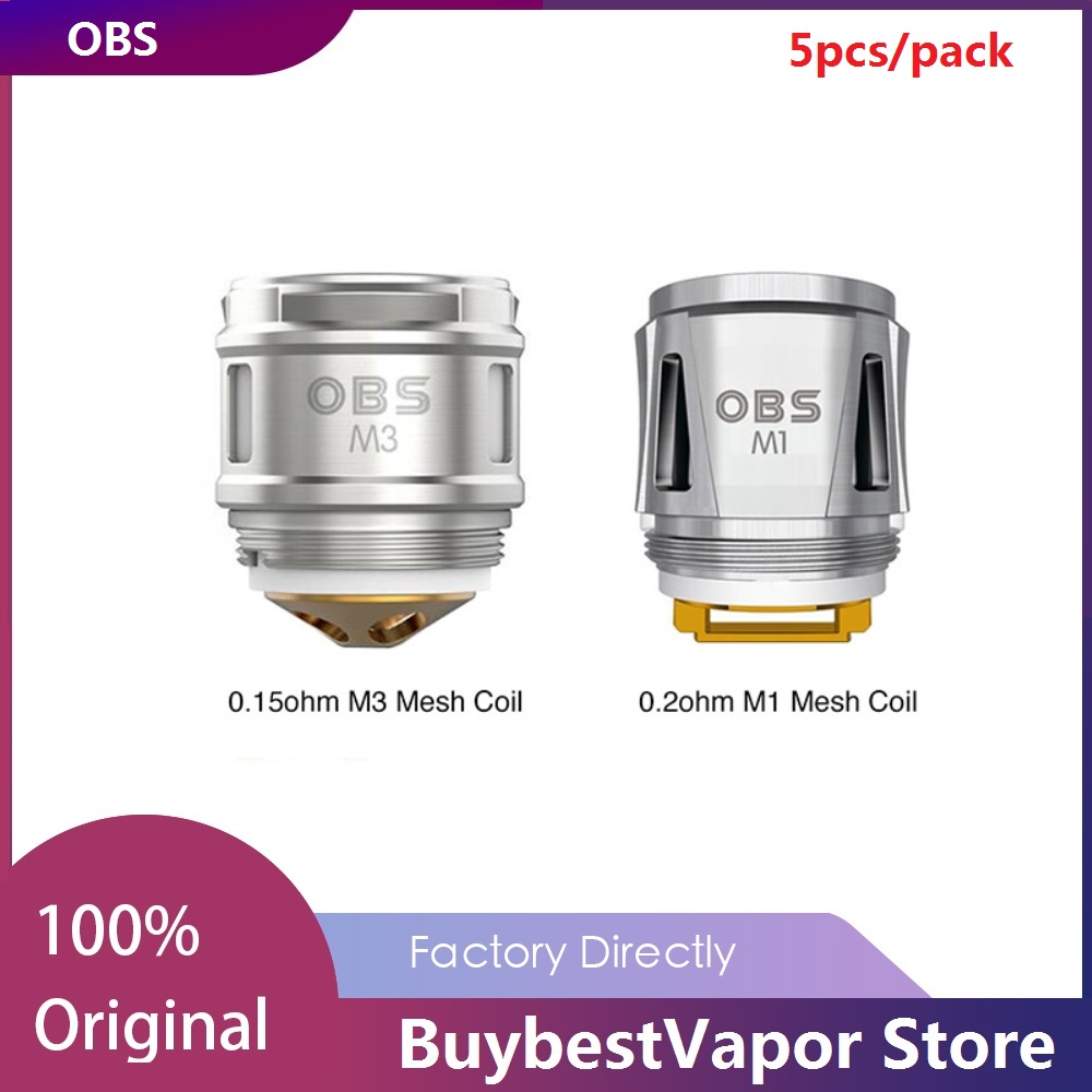 Original 5/10pcs OBS Draco Replacement Coil 0.2ohm M1 Mesh Coil/0.15ohm M3 Head for OBS Cube Kit/ Cube X Kit Vape Coil Vaporizer