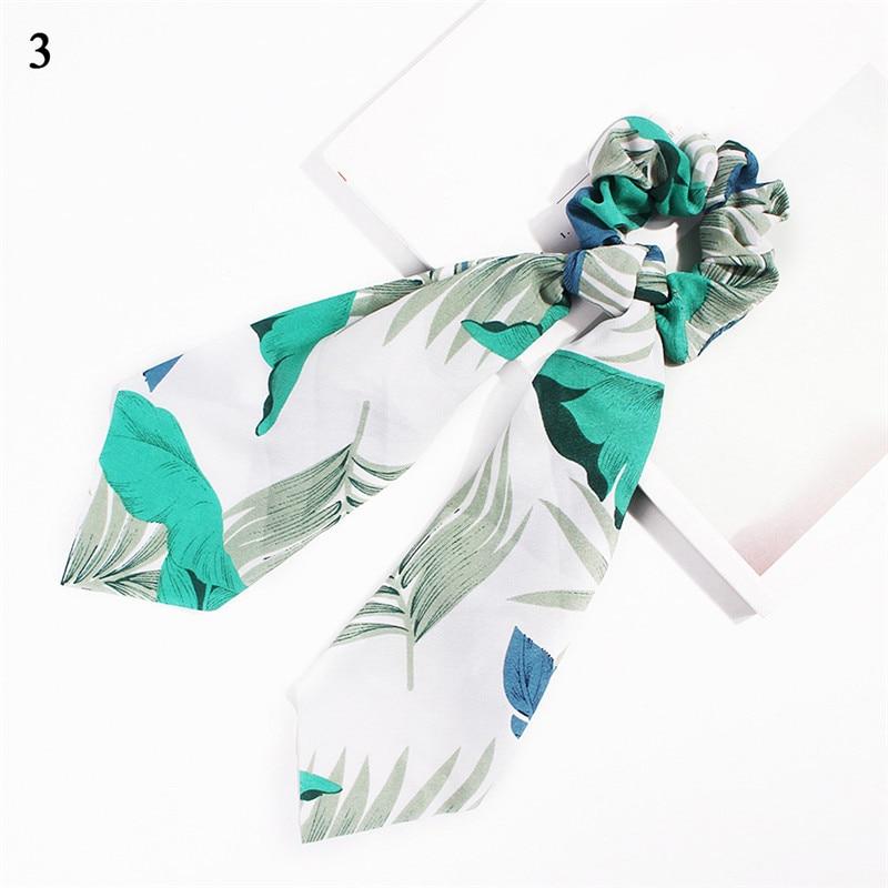 Элегантные резинки для волос с большим цветком и леопардовым принтом; эластичные резинки для волос для женщин и девочек; завязанные длинные резинки; шарф; аксессуары для волос - Цвет: Hot Sale-3